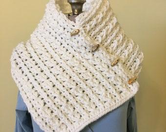 Crochet Cowl,  Pullover Collar, Infinity Scarf, Cream, Buttons, Soft Scarflet, Snood, Handmade Scarf