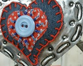 RESERVED Boho Beaded Embossed Red Polka Dots Fabric Heart Ornament Valentine Decoration