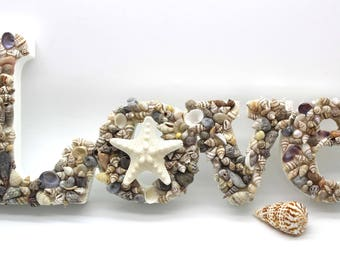 LOVE Sea Shell Sign, Love, Sea Shell, Shell Sign, Beach Wedding Decor, Beach Decor, Nautical Decor