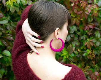KIELA earrings, big - Pink reindeer leather big hoop earrings - Statement leather earrings - handmade earrings