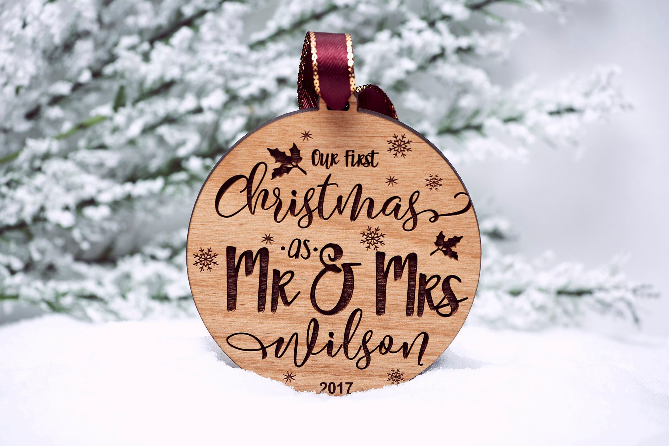 our first christmas as mr mrs ornament personalized wedding christ