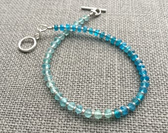 Blue apatite bracelet Two tone apatite sterling silver bracelet Gemstone jewelry Apatite jewelry Dainty gemstone bracelet Gift for her