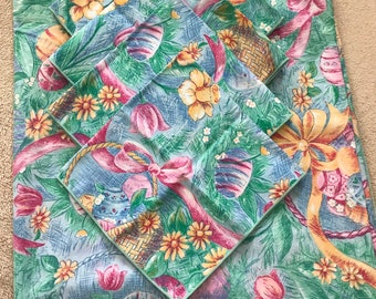 Easter cloth tablecloth with 4 cloth napkins