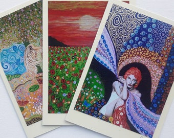 Art Nouveau Pagan Greeting Cards Birthday Art Cards Colorful Fantasy Art Beautiful Designs Pack of 3