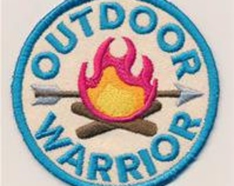 Embroidered Patch / applique - adventure merit badges outdoor warrior - sew, glue on or iron on patch