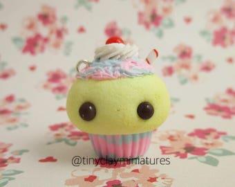 Cotton candy milkshake cupcake polymer clay miniature charm
