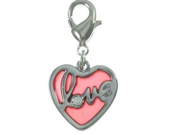 "HEART CHARM ""LOVE"" WITH LOBSTER RED"
