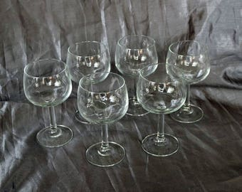 "Set of Six (6) Clear Glass ""Grand Vin"" Balloon Wine Glasses ~ 1970s ~Luminarc ~ Cristal D'Arques ~ Durand ~ France/French ~ Stems ~ Stemware"