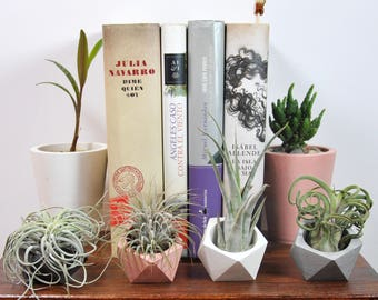 Concrete Set of 4 Mini flower pot | Mini cement planter | Mini succulent pot | Air plant | Desktop accessory