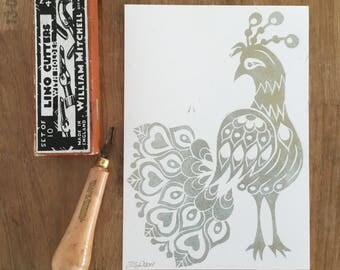 Folk Art Peacock - A5 hand printed lino cut in gold