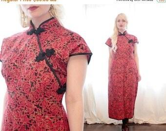 20% OFF SALE Vintage 1960s short sleeve red black gold oriental Asian inspired long maxi dress ethnic Martha bitrick originals Honolulu pinu