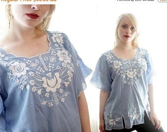 BIG SALE Vintage chambray blue cotton Mexican embroidered folk blouse ethnic embroidery BoHo