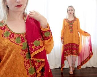Vintage Indian Turmeric orange red chiffon heavily embroidered kurta tunic dress ombre dupatta scarf shawl set ethnic folk