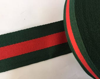 """4"""" green and red striped ribbon,  grosgrain ribbon, striped grosgrain ribbon, polyester ribbon, belt ribbon"""