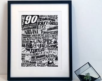 The history of the 1990s Nineties Typography Illustration Poster Print