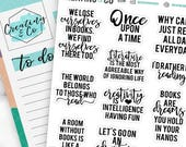 Reading Quote Planner Stickers for a Variety of Planners, Book Worm Stickers - QS04