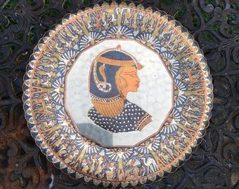 Egyptian Copper Decorative Plate Cleopatra Egypt