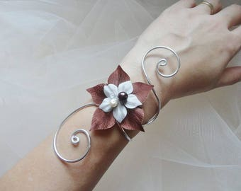 Bridal party wedding bracelet ivory chocolate silk flower