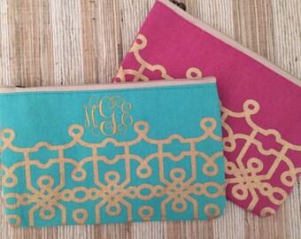 Monogrammed Jute Cosmetic bag, personalized make-up bag, bridesmaid gift