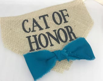 Cat Accessories Bandana Cat of Honor Wedding Collar Boy Turquoise Bowtie One Size Photo Prop Engagement Save the Date