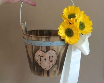 Rustic flower girl bucket, Sunflowers bucket, Rustic wedding bucket, Rustic flower girl bucket, Flower girl bucket, Wedding flower bucket