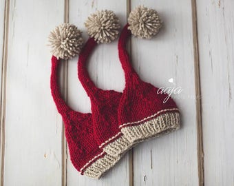 Knitted baby newborn Christmas hat, burgundy/wine/red oatmeal, with pom pom, Santa, Photo prop made to order