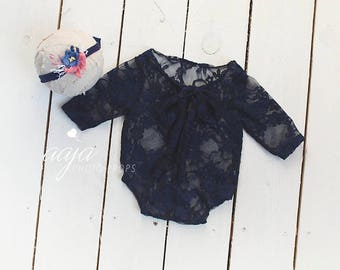 Beautiful newborn girl navy blue lace romper and tieback set, delicate, stretch, Prop, RTS