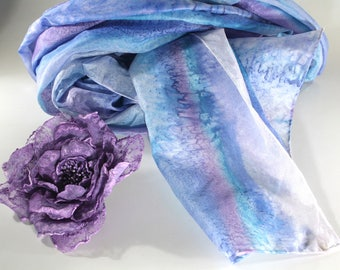 Women's scarves - Hand painted silk scarves - Spring summer scarves - Long scarves - Silk scarves - Beach scarves  - Natural silk scarf