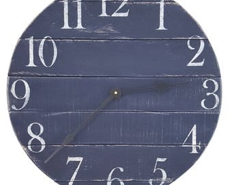 Navy blue Clock- Farmhouse Clock- Reclaimed Wood Clock- Small  clock- Wall Clock- Rustic Clock - Number Clock- Pallet Clock