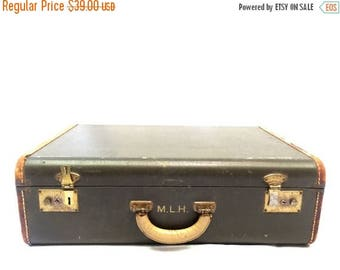 ON SALE Petite Vintage Suitcase with Leather Trim, Monogrammed M.L.H.