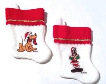 Vintage 1980s Disney Mini Christmas Stockings w/Pluto and Goofy