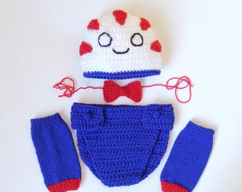 Peppermint Butler Hat And Diaper Cover With Leg Warmers From Adventure Time Costume - Newborn Photo Prop Baby Hat Halloween / Cosplay Wig