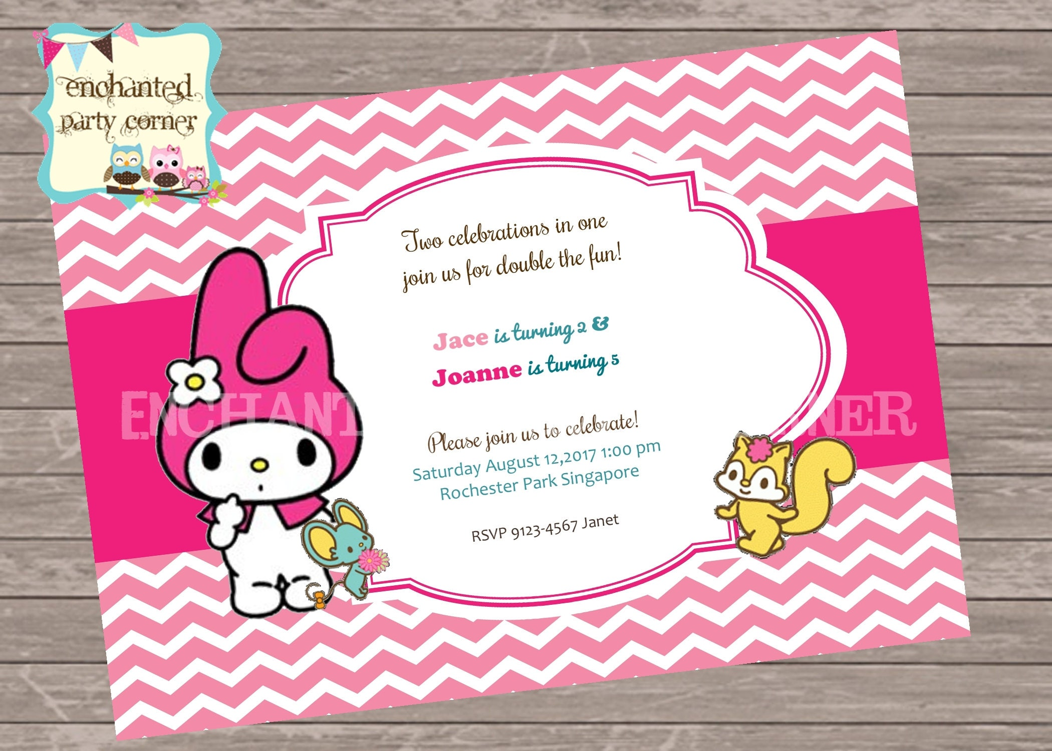 Cute My Melody Birthday Invite Card - Birthday invitation cards singapore