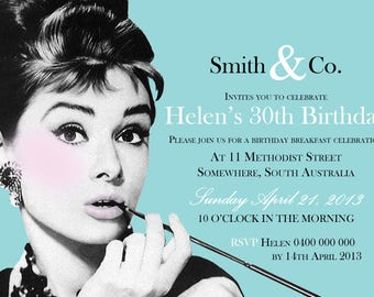 Breakfast at Tiffanys / Breakfast at Tiffanys Invite / Tiffanys / Audrey Hepburn / Breakfast at Tiffanys Birthday / Tiffanys Blue