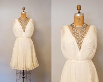 Vintage 1960s Jack Bryan California White Chiffon Dress