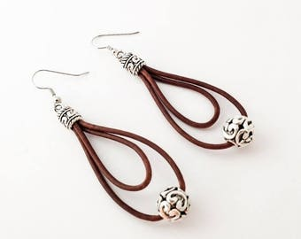 Clearance Sale Leather and Tibetan Silver Earrings  in Natural Brown leather