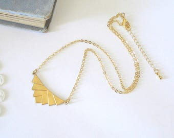 Gold Chevron Necklace, Art Deco Necklace, Geometric Necklace, Layering Necklace, Layering Necklace, Gift for Her