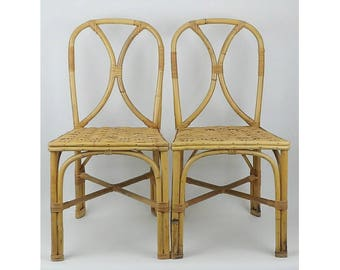 bentwood chair bamboo rattan wicker woven pair of chairs tiki hawaii hawaiiana styled after paul frankl