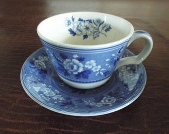 NIB Spode Cup and Saucer Blue Italian BOTANICAL Vintage Item White and Blue Still in Original Box