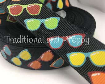 "3 yards 7/8"" Glitter summer sunglasses grosgrain ribbon"