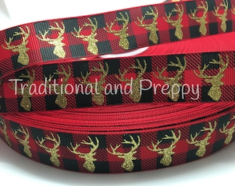 "7/8"" Glitter Moose deer buffalo plaid red tan and black grosgrain"