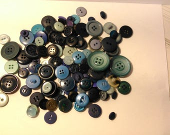 Blue buttons - sewing - crafting - lot 2