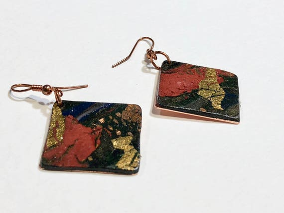Earrings - contemporary handmade polymer clay on diamond shaped copper piece with copper ear wire