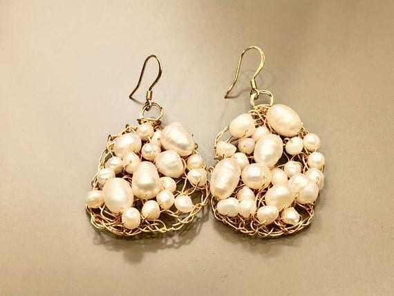 Handmade 14K gold filled wire crochet earrings with white fresh water pearls