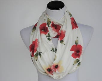 Mother's day scarf gift Poppy scarf infinity scarf, classic scarf poppy flower scarf pink flowers scarf Poppy Scarf White Cream Pink Scarf