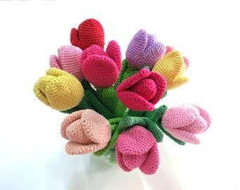 Tulip, Crochet Flower, Crochet Tulip, Home Decoration, Tulips Flower, Mother Day Gift, Handmade Flowers, Colorful Flowers, Gift for Her