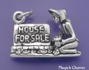 HOUSE For SALE Charm .925 Sterling Silver Realtor Pendant - lp2866