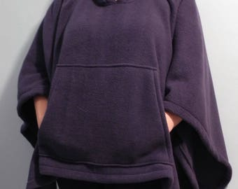 Hooded poncho, fleece poncho with hood, navy blue fleece poncho with big front pocket - Boho poncho, hygge poncho