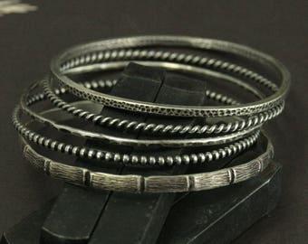 Stacking Bangle Set--Solid Silver--Set of 5 Bangle Bracelets--Layered Bangle Set--Layered Bracelet Set--Stacking Bracelet Set--Gift for Her