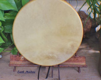 """10"""" Deer Hide Hand Drum Native American Made William Lattie Cherokee comes w/ Certificate of Authenticity FREE US SHIPPING"""